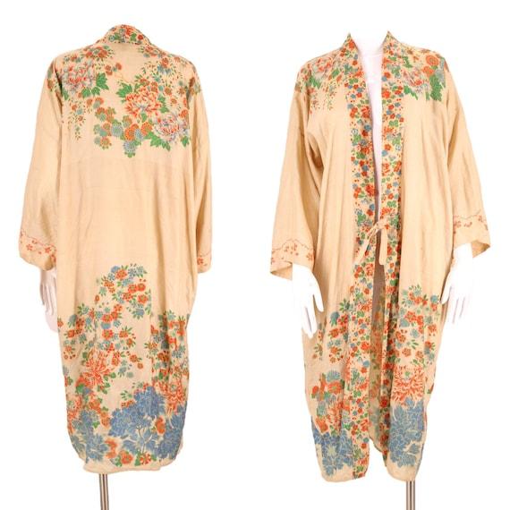 30s PONGEE silk Japanese kimono / vintage beige fl