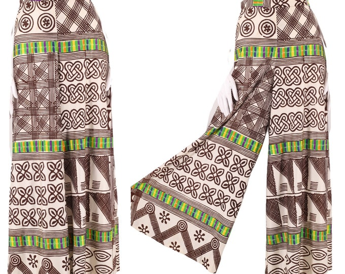 """70s psychedelic print high rise bell bottoms pants 29"""" / Vintage 1970s Nelly De Grab novelty print palazzo wide leg flowy pants 10 Large"""