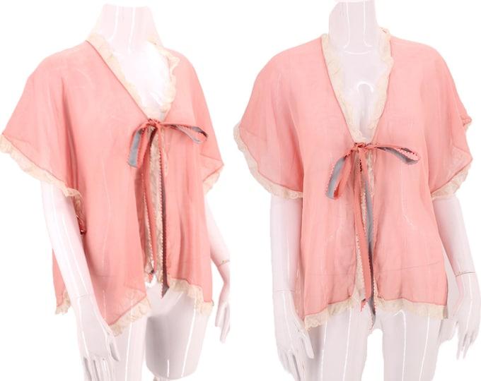 20s pink cotton lingerie blouse /  vintage Art Deco pink boudoir bed combing jacket 1920s top 30s