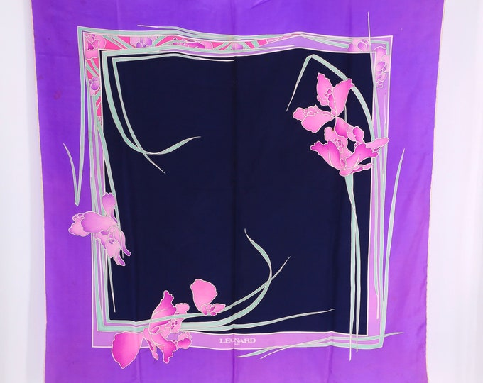 vintage silk LEONARD orchid floral print large designer scarf purple and black 70s 1970s 46 x 40