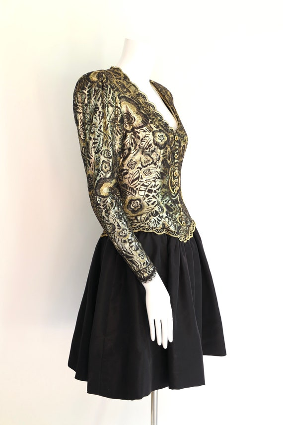 80s Pauline Trigere gold lace cocktail dress / vi… - image 3