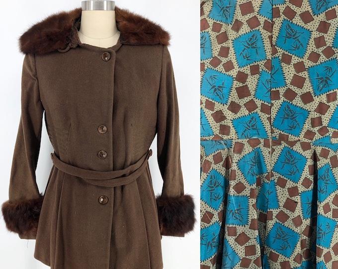 20s Art Deco wool fur trim jacket