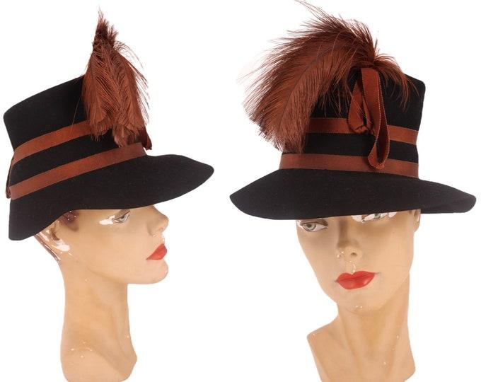 40s STETSON womens hat / vintage 1940s felt feather plume tilt cocktail fedora rare 1930s