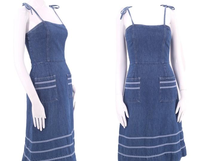 70s LANDLUBBER denim dress sz XS / vintage 1970s tie strap summer apron sun dress S