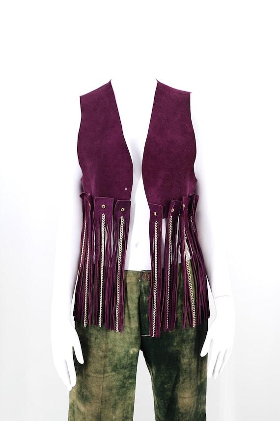 60s Woodstock era purple suede fringe & chains ves