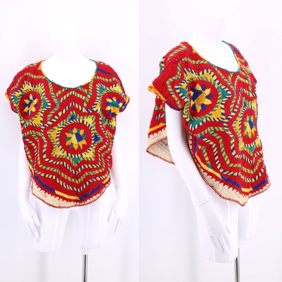 vintage hand embroidered South American poncho top