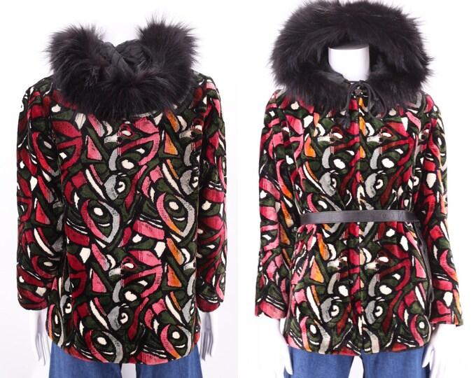 60s tapestry print coat M / vintage 1960s tapestry chenille velvet hooded fur trim jacket M / L