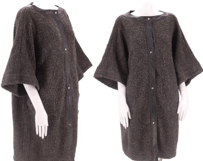60s SILLS Bonnie Cashin gray wool coat M-L / vintage 1960s nubbly wool leather trim mod car clutch swing coat 50s