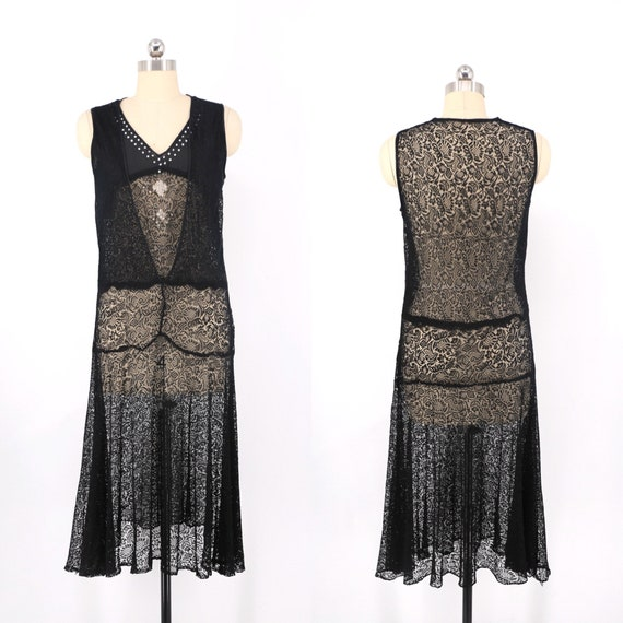 20s black lace dress / vintage Art Deco rhinestone