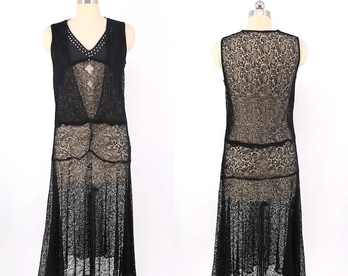 20s black lace rhinestone flapper dress size M