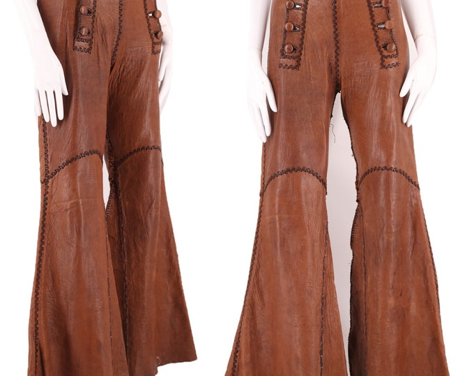 70s NORTH BEACH brown leather rock & roll bell bottoms pants 7/8 / vintage 1970s custom made whip stitched western pants flares 31