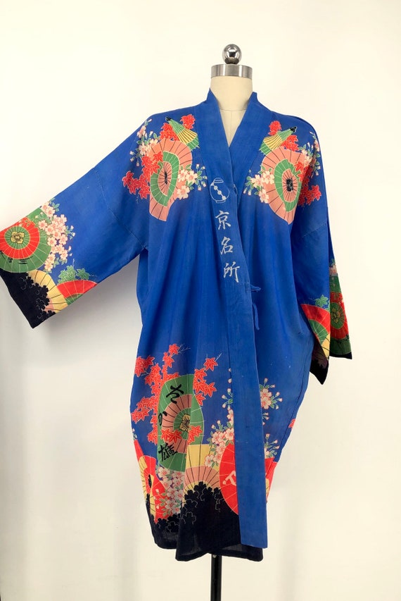 vintage 30s print kimono / blue Yuzen Zome fan & … - image 9
