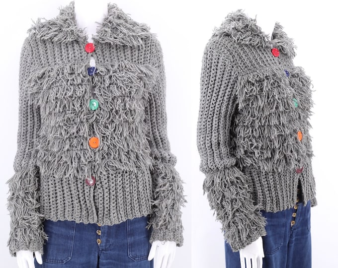 70s FADED GLORY shaggy knit cardigan sweater M / vintage 1970s gray string sweater top