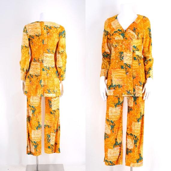 60s yellow orange print skinny flare pants set/ vi