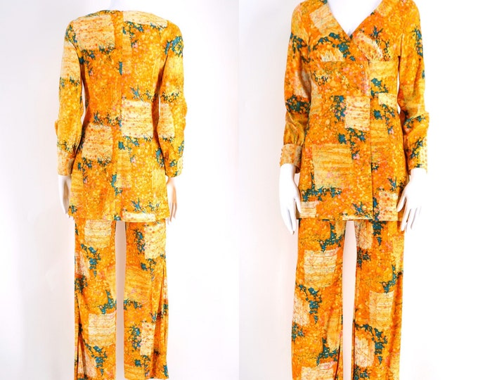 60s yellow orange print skinny flare pants set/ vintage 1960s marbleized mod go go tunic top slim flare sz 6
