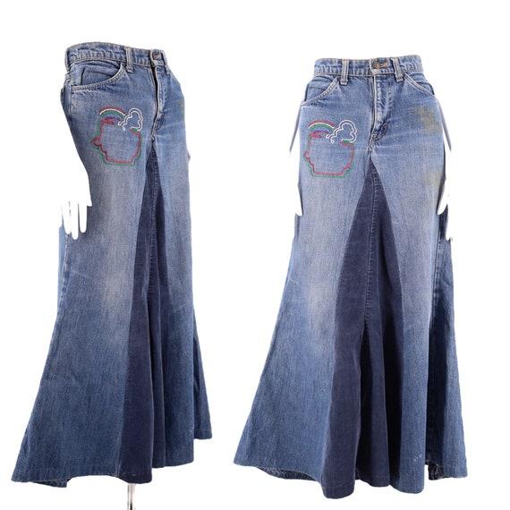 70s Levis orange tab denim maxi skirt 28 / vintage