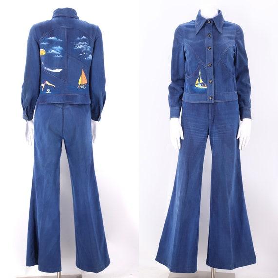 70s RONCELLI denim bell bottoms suit 8 / vintage … - image 1