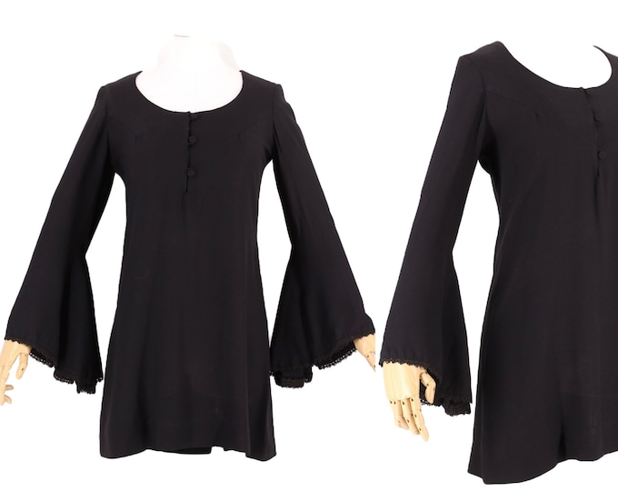 60s YOUNG EDWARDIAN black micro mini dress 7 / vintage 1960s rayon trumpet sleeve witchy dolly dress S-M