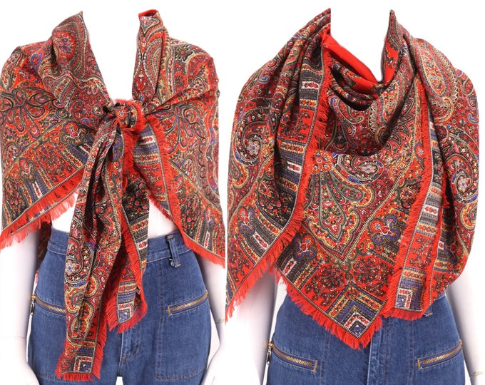 70s LIBERTY wool scarf shawl / vintage 1970s HUGE Liberty London paisley wool challis fringed wrap 50 x 50
