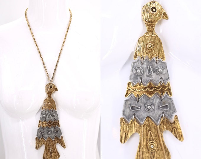 70s HUGE bird pendant necklace / vintage 1970s silver gold Phoenix statement necklace 60s