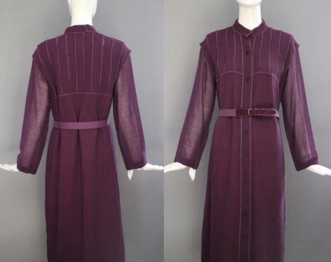 70s GEOFFREY BEENE dress / crinkle wool crepe plum belted elegant ladylike shift vintage 1970s 8 -1 0
