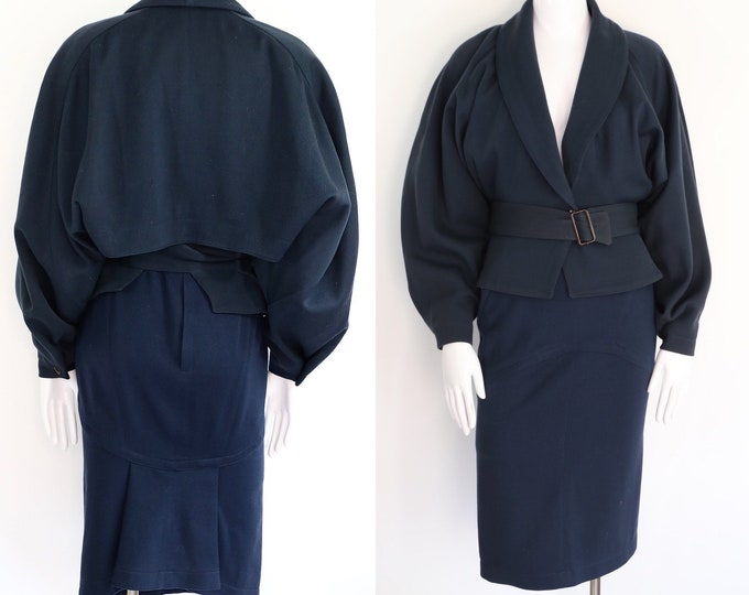 90s ALAIA navy wool body con skirt suit 6 / vintage 1990s jacket black draped outfit 1980s Alaia dress  6