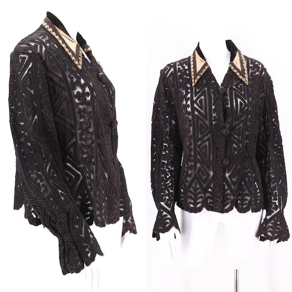 1800s Victorian black cut work mesh jacket  / anti