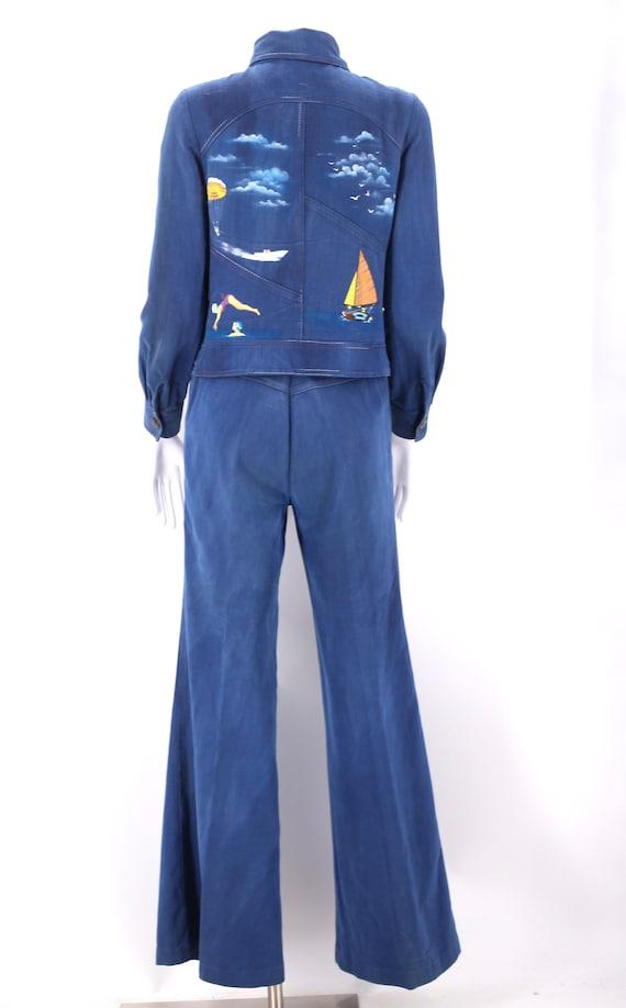 70s RONCELLI denim bell bottoms suit 8 / vintage … - image 4