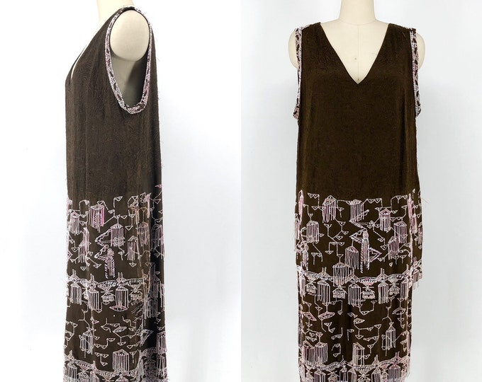 20s EGYPTIAN REVIVAL figural beaded chocolate silk flapper dress vintage antique 1920s