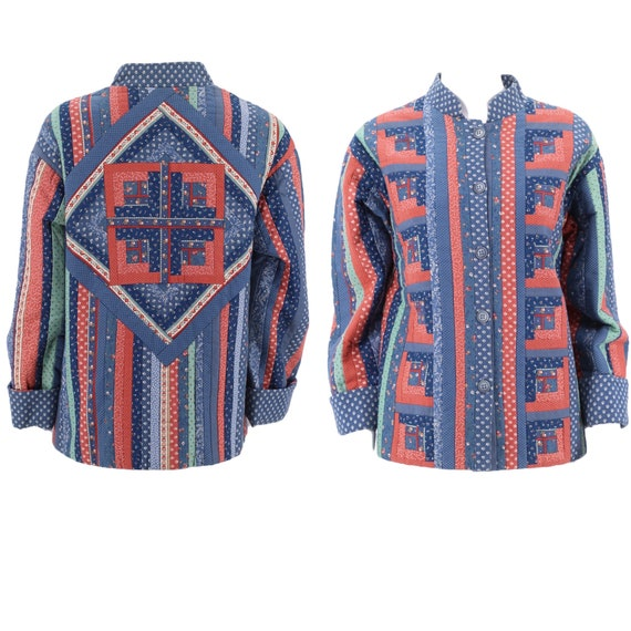 70s quilted jacket M / vintage 1970s handmade quil