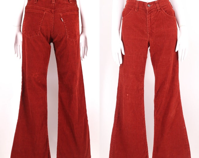 70s LEVIS rust corduroy high waisted bell bottoms jeans 30 / vintage 1970s red brown flares pants 6