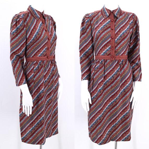 80s UNGARO print silk dress 8 /  vintage 1980s str