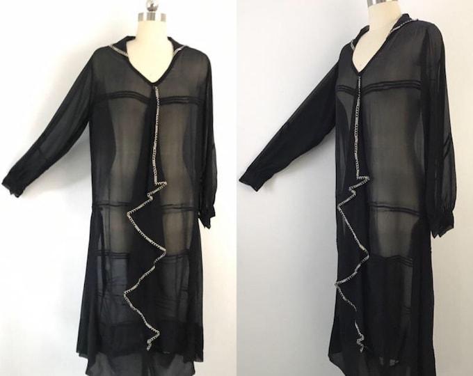 20s ART DECO black silk chiffon sheer GRAPHIC ruffle front drop waist flapper dress vintage 1920s