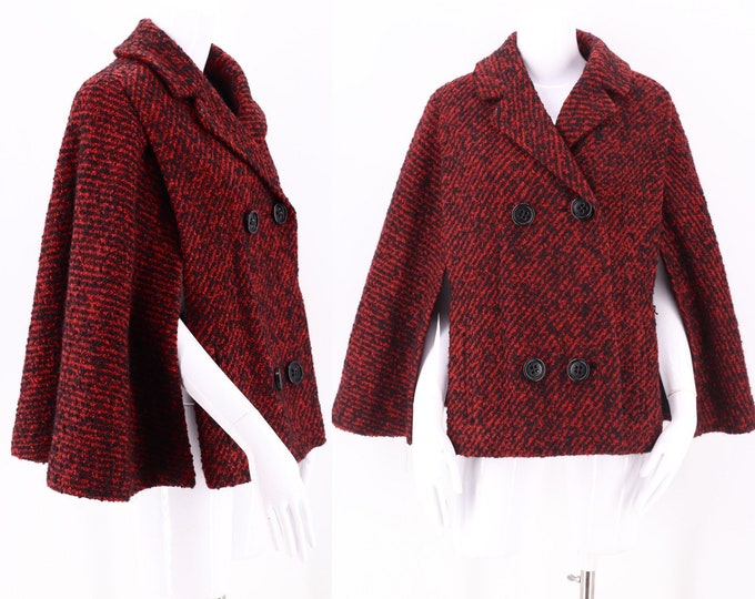 50s red tweed wool cape /vintage 1950s Red Tweed Mid Century Trapeze Cape One Size