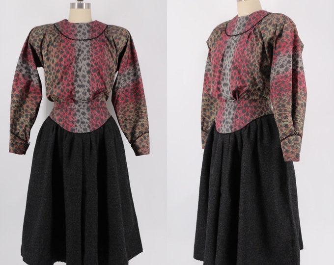 80s GEOFFREY BEENE silk print & wool peasant set