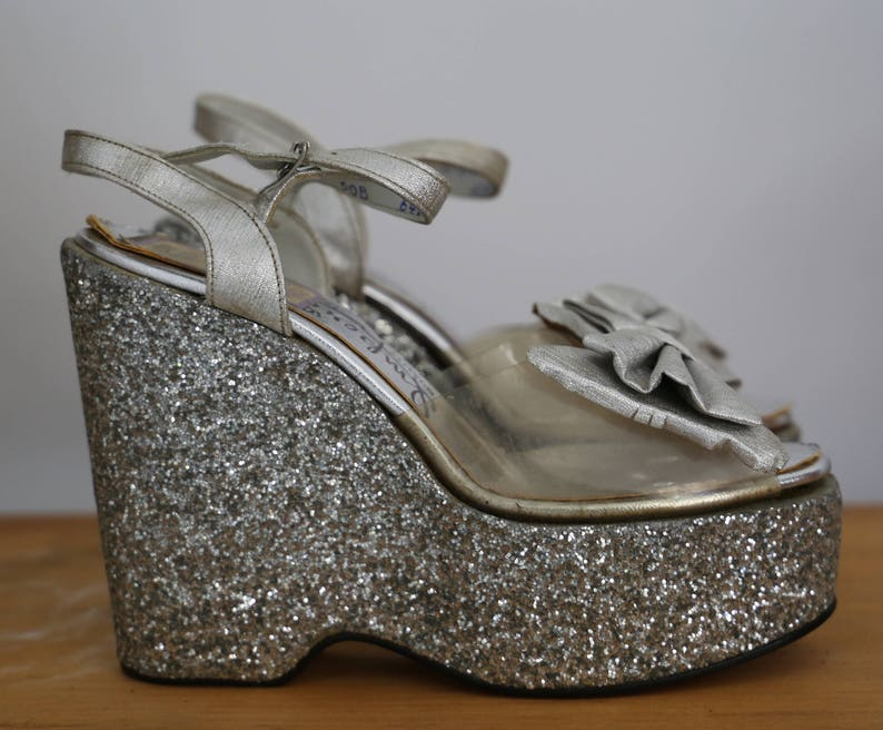 70s GLAM ROCK silver glitter & clear plastic PLATFORMS w/ image 0