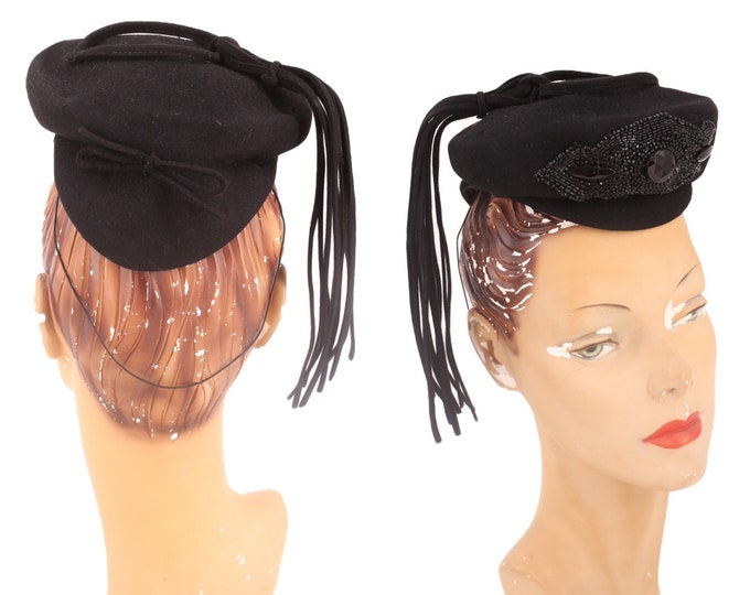 40s black tilt hat / vintage 1940s NY CREATIONS felt jet beaded cocktail fascinator 1930s