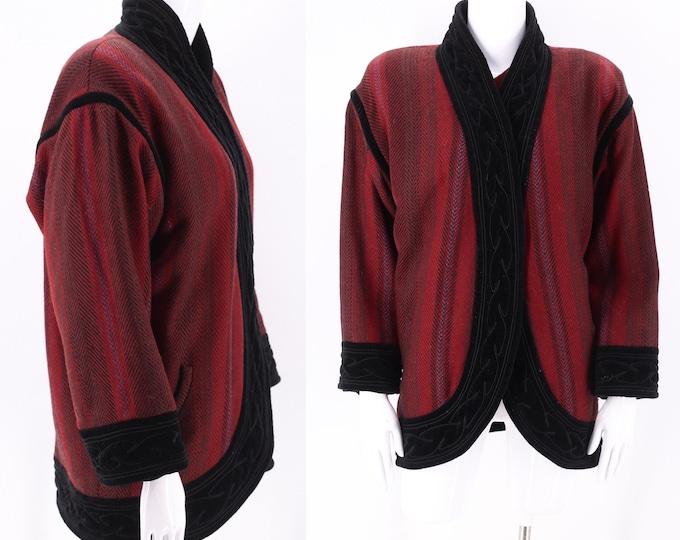 1980s Ungaro Cocoon Coat 6  / vintage 1980s designer dark red print Emanuel Ungaro velvet trim draped coat M