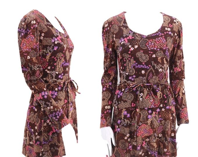 60s brown print Micro Mini Dress S / vintage 1960s Now Generation swinging Sixties mini Small