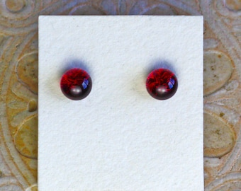 Dichroic Glass Earrings, Petite, Deep Fuschia  DGE-1340