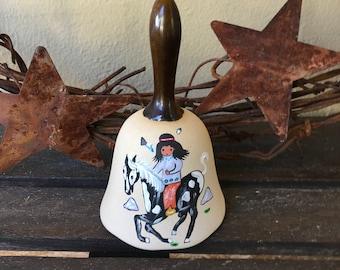 Patio Chime Rustic Farmhouse Decor Vintage Roadrunner Bell Cream Ceramic Farm Bell Desert Bird Animal Southwestern Outdoor Decor
