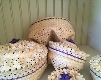 VINTAGE NESTING BASKETS Set of 4 Baskets with Lids