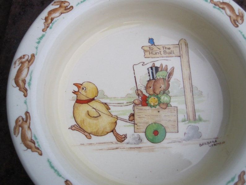 Vintage Bunnykins RARE Ceramic Child/'s Bowl To The Hunt Ball Made in England Royal Doulton China signed by Barbara Vernon 1950s