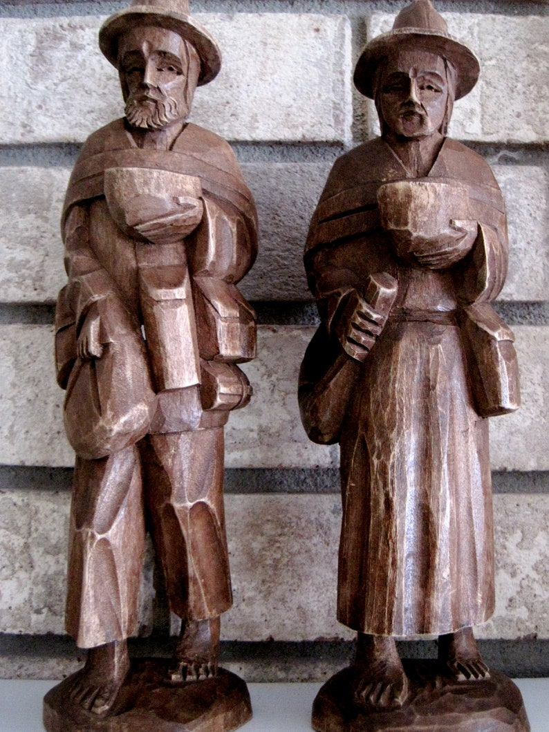 German wood carvings of man and woman s germany european etsy