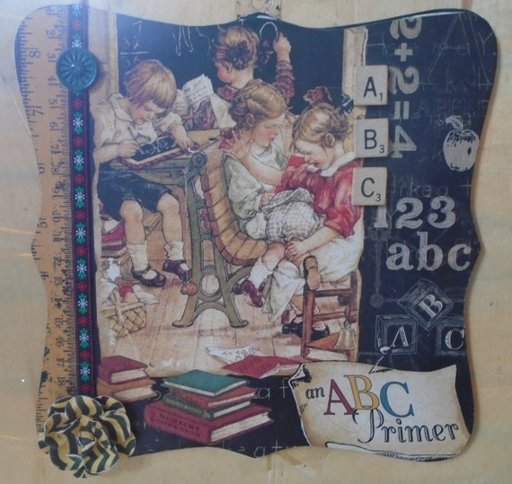 School Days ABC decoupaged picture frame