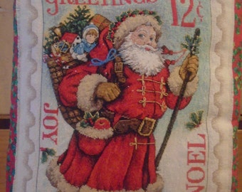 Vintage Cross Stitch Santa Postage Stamp Decorative Pillow