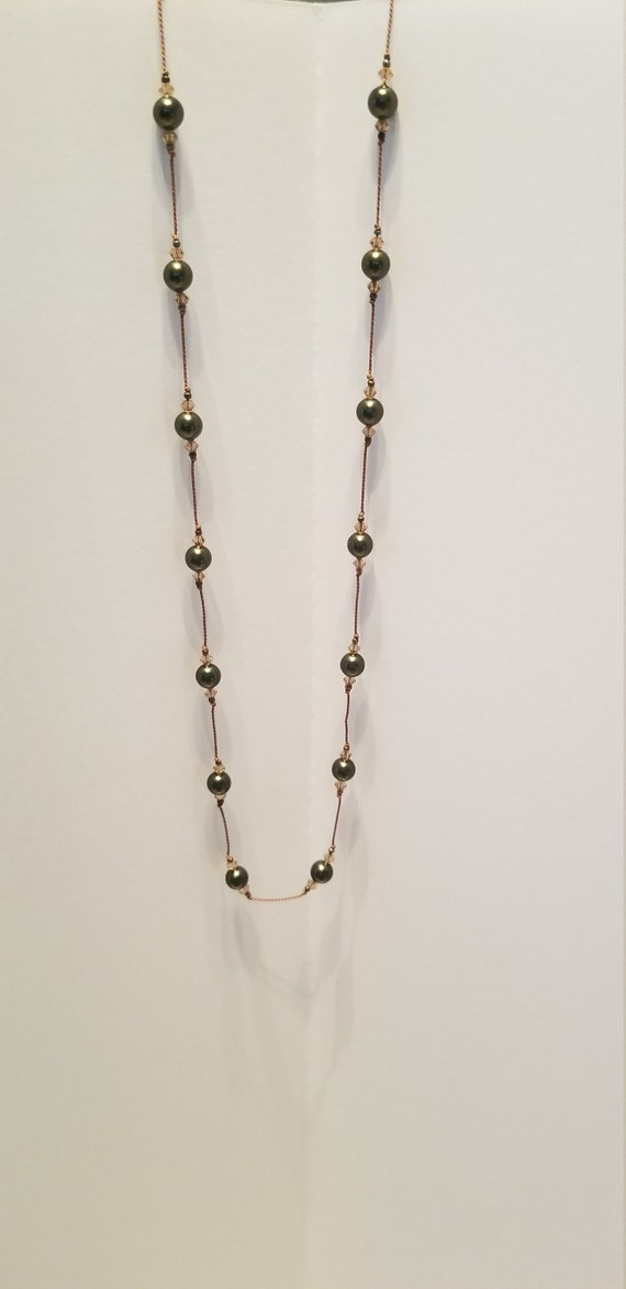 Black Pearl Necklace, Pearl Necklace, Cultured Pea