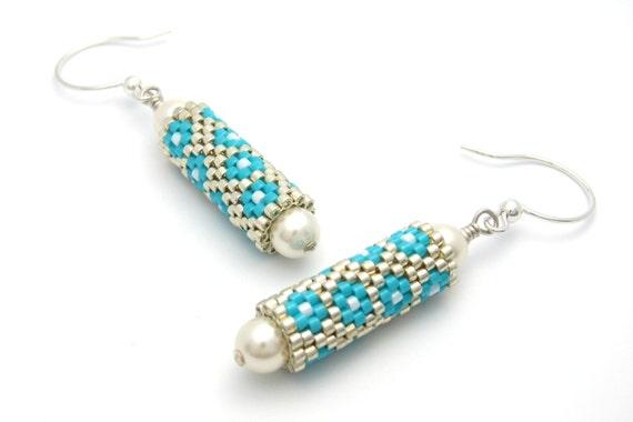 Brilliant Blue Dangle Bead Earrings