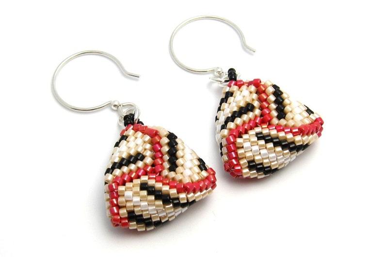 Beaded triangle earrings  peyote stitch earrings  seed bead image 0