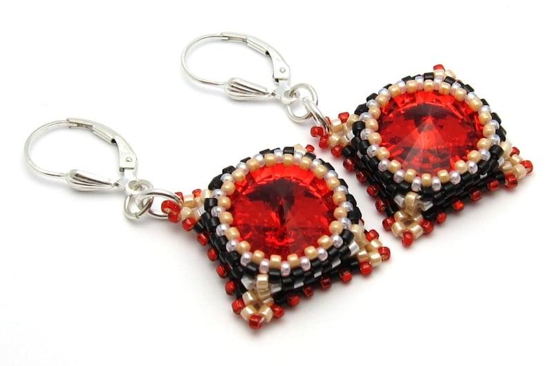 Beaded earrings  red earrings  crystal earrings  bead woven image 0